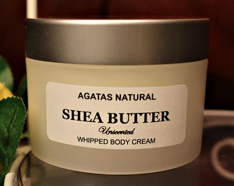 Shea Butter Cream/Unrefined Shea Butter Whipped /Shea Butter Raw/Cream with Green Tea Seed Oil for BODY & FACE /Choose Your Own Scent