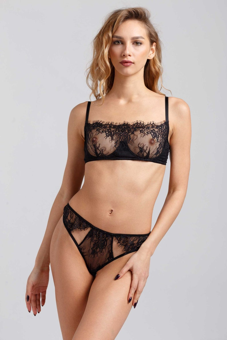 c712f2fd81 Black lace sheer halter bra set