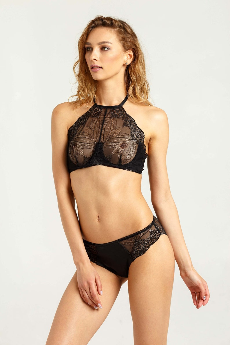 07b7b3ecd4 Black lace halter bra Black lace top Sheer halter bra