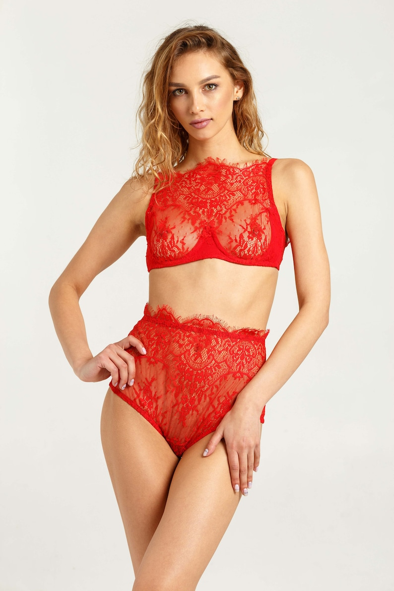e7634e8e0b81a Red underwear Red lace lingerie set Lace halter bra Red