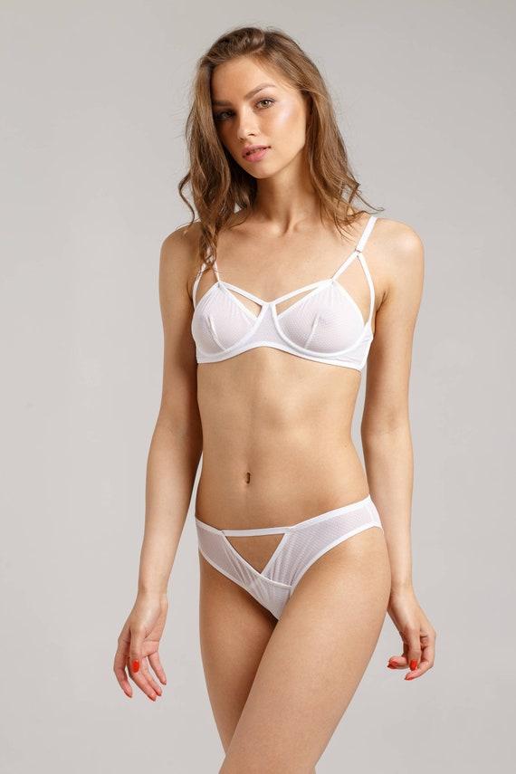plus récent fca27 c64fa Blanc ensemble de lingerie - sous-vêtements - lingerie blanche - maille  lingerie ensemble - maille lingerie - lingerie transparente - maille ...