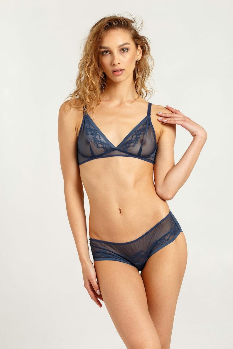 0a69f501af1d9 Mesh lingerie set Transparent underwear Blue lingerie   Etsy