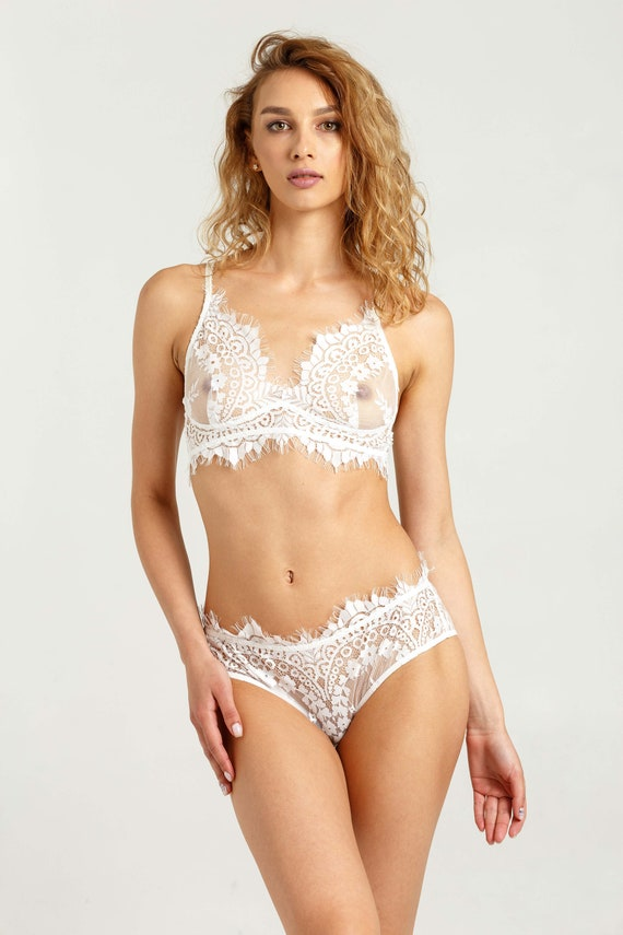 White lace bra and panty set Wedding lace top Bridal lace  a5908e0f3