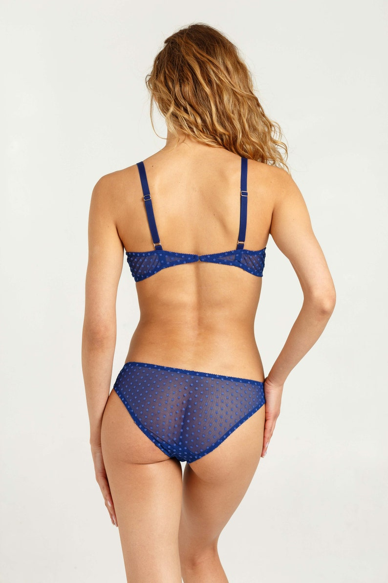 f1866e487d7b Mesh lingerie set Electric blue lingerie Mesh sheer bra | Etsy