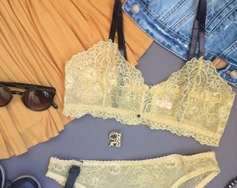 Boudoir lingerie set - lace lingerie set - lace bra - lace panties - see through lingerie - sheer lingerie - lace underwear - lace bralette