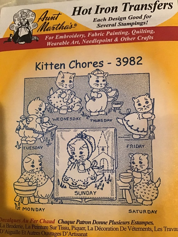 Vintage Aunt Martha Aunt Martha/'s Hot Iron Transfers Kitten Chores #3982 Vintage Transfer Embroidery Pattern Aunt Martha