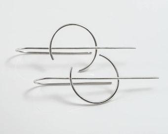 Minimalist earrings, Open hoop earrings, Silver threader earrings, Pull through earring