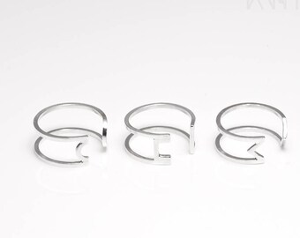 Sterling silver midi rings, Knuckle rings set, Double midi ring, Geometric open rings