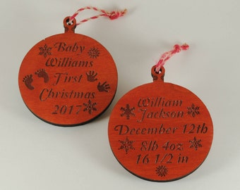 Personalized Baby's First Christmas Ornament - Cut and Engraved Cherry Wood