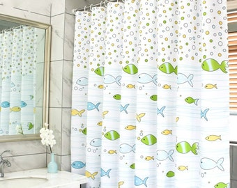 Fabric Shower CurtainFunny Kids Curtain LinerWaterproof Polyester Bathroom For Boy Girl With Cartoon FishMildew Resistant