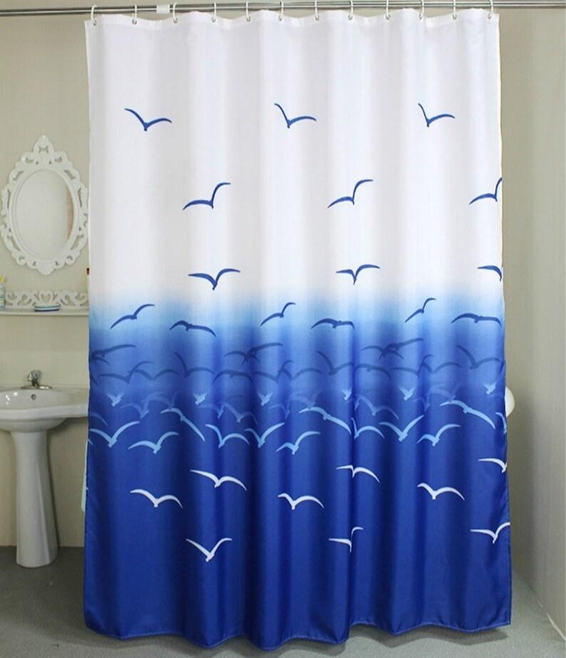 Blue White Fabric Shower CurtainNautical Seagull