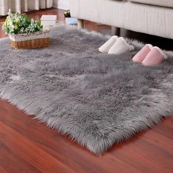 Gray Faux Fur Rug Soft Fluffy Rug Shaggy Rugs Faux Luxury Etsy