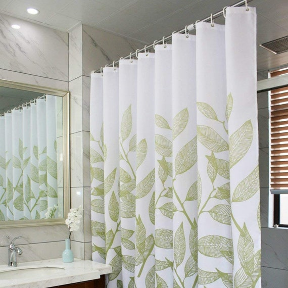 Green Leaves Fabric Shower CurtainWaterproof Polyester