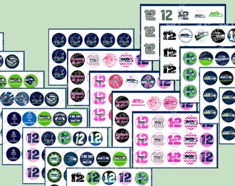 """FLASH SALE Seattle Seahawks 1 inch bottle cap 300 images. Football  Instant Download-1"""" Sports Birthday party Tailgate Party"""