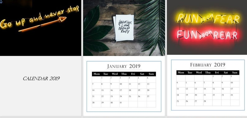 Inspirational Quotes Photography 2019 A3 Wall Calendar start any month!