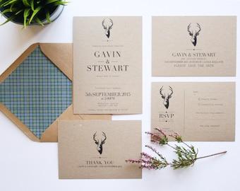 Stag Wedding Invitation Set. Rustic Wedding Invites. Wedding Invitation Sample