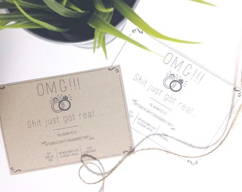 OMG Sh*t Just Got Real! Engagement Party Invitation. Engagement Party. Pack of Ten Invites