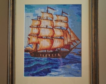 """Cross stitch framed picture """"Ship"""""""