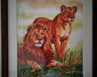 Cross Stitch Framed Picture 'Lions'