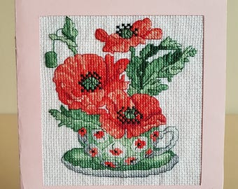 "Original and exclusive embroidered "" Poppies "" card, Greeting Birthday card light pink colour"