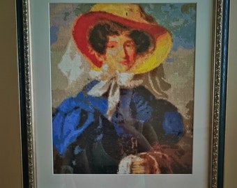 """Cross stitch framed picture """"The Countess Ann"""""""
