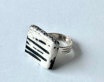 Raku ring, ceramic ring, black and white rectangular ring