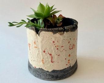 Plant holder - Succulent holder - Colored raku pottery plant holder - Pottery planter - Raku planter