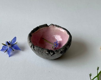 Ceramic black and white small dish - Raku ceramic trinket tray - Pottery dish - Small raku ceramic dish