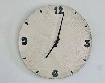 Wall clock - Ceramic wall clock - Blue wall clock - Raku pottery rond and turquoise blue wall clock