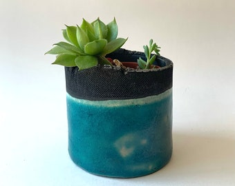 Plant holder - Succulent holder - Raku ceramic blue and black plant holder - Succulent holder