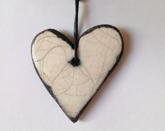 Heart shape pendant - Raku pendant - Raku heart - Ceramic pendant - Raku necklace