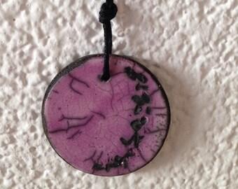 Raku pendant - raku ceramic necklace, purple raku pendant, raku necklace, unique raku pendant