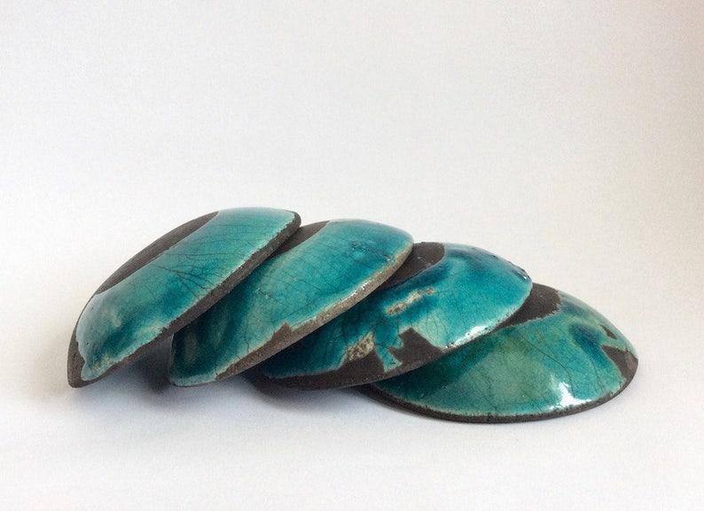 Raku pottery blue bowls raku ceramic bowls Set of four raku bowls Blue raku dishes Set of four raku dishes