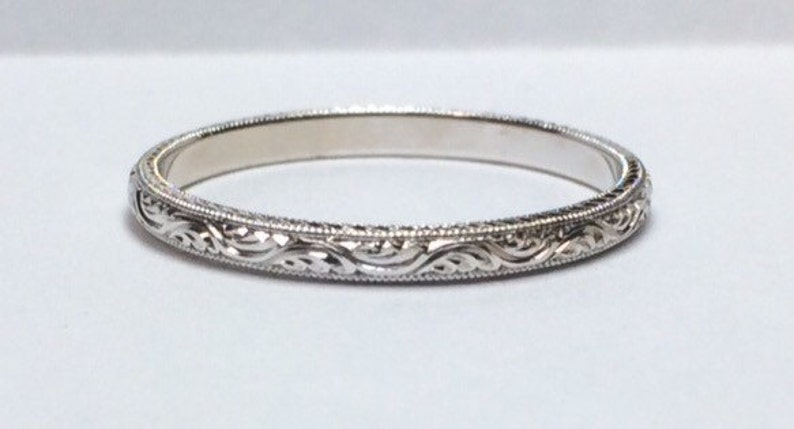 Wedding Band / Stacking Band with Eternity Wave Scroll Pattern image 0
