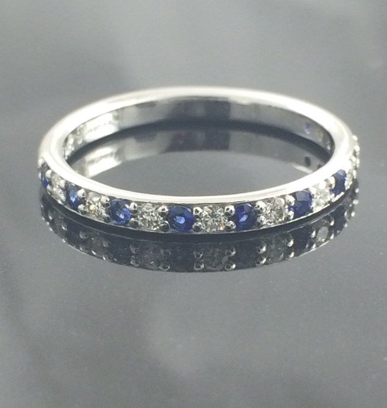 Diamond And Blue Sapphire Stacking Band / Wedding Band 1/3 CTW image 0