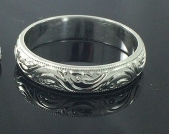 Eternity Royal Scroll Pattern Hand Engraved Stacking/Wedding Band in 14k