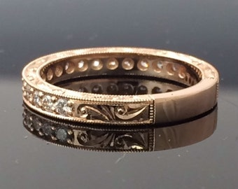 Diamond Hand Engraved Wedding Band 1/3 ctw In 14k gold