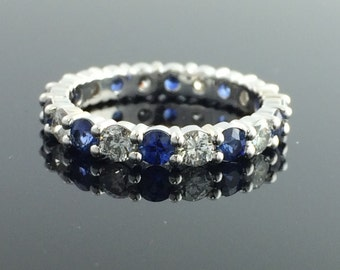Diamond And Blue Sapphire Eternity / Wedding Band