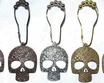 Sugar Skull Shower Curtain Hooks Set Of 12 Candy Calavera Day The Dead Skeleton Gothic Silver Bronze Or Copper Halloween
