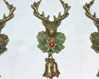 Stag Shower Curtain Hooks Christmas Bath Decor Set Of 12 Antique Bronze Optional Patina Deer Reindeer Antlers Buck Woodland