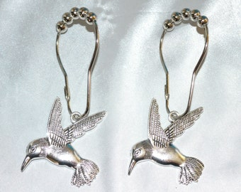 Hummingbird Shower Curtain Hooks Set Of 12 Silver Gold Copper Bird Garden Nature Spring Optional Swarovski Crystal Eyes