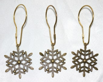 Snowflake Shower Curtain Hooks Set Of 12 Antique Bronze Snowflakes Optional Patina Winter Holiday Bath Christmas Rings