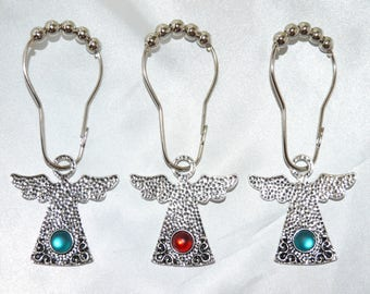 Christmas Angel Shower Curtain Hooks Set Of 12 Hammered Silver With Polaris Cabochon In Choice Colors Rings