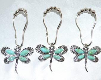 Turquoise Dragonfly Shower Curtain Hooks Set Of 12 Antiqued Silver W Faux Cabochons Garden Nature Woodland Spring