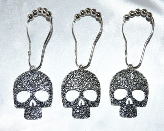 Sugar Skull Shower Curtain Hooks, Candy Skull, Calavera, Day Of The Dead  Halloween Shower Curtain Rings, Skeleton Gothic, Silver, Set Of 12
