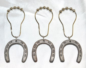 Horseshoe Shower Curtain Hooks Set Of 12 2 Heavy Raw Cast Iron Silver Gray Miniature Horse Shoes Pony Rustic Farmhouse Western Country