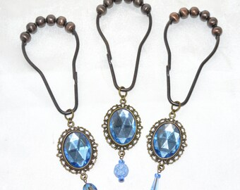 Vintage Victorian Jewel Shower Curtain Hooks Blue Pink Amber Gems Antique Bronze Filigree Frame Oil Rubbed Gold Roller Ball