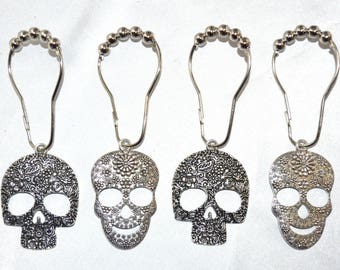 Sugar Skull Mix Shower Curtain Hooks Candy Calavera Day Of The Dead Rings Skeleton Gothic Silver Set 12