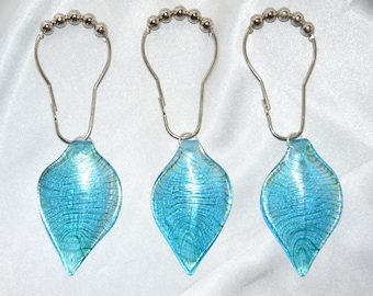 Lampwork Glass Leaf Shower Curtain Hooks Aqua Blue Green Silver Set Of 12 Extra Large Striking And Unique Bath Decor