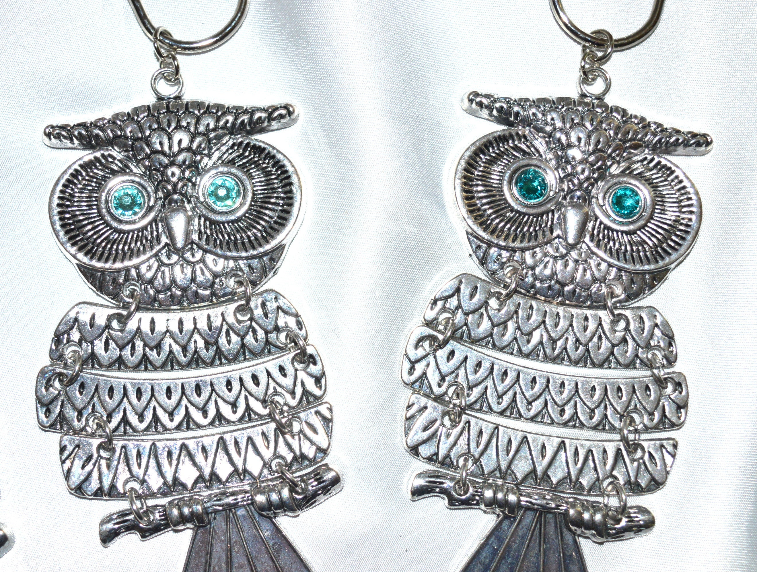 Owl Shower Curtain Hooks Set Of 12 Articulated 4 Antique Silver W Swarovski Crystal Rhinestone Eyes Woodland Nature Forest